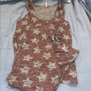 Red grey star pajama set xl